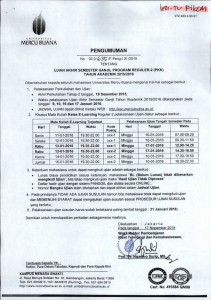 Pengumuman UAS Reg 2